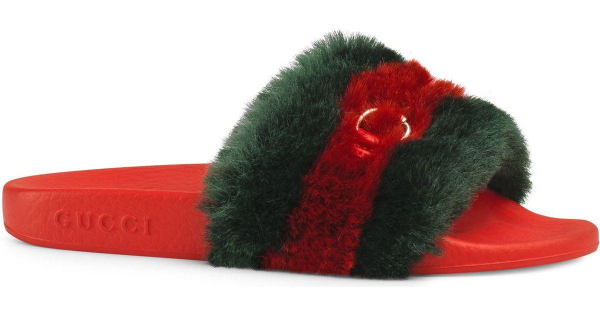 aec90dc7e4c7 Gucci Girl s Pursuit Faux Fur Slide Sandals in Red - Lyst