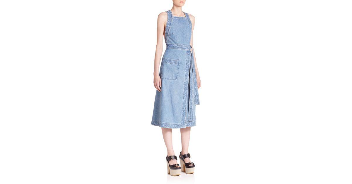 fe68284b1c Lyst - Stella McCartney Denim Wrap Dress in Blue