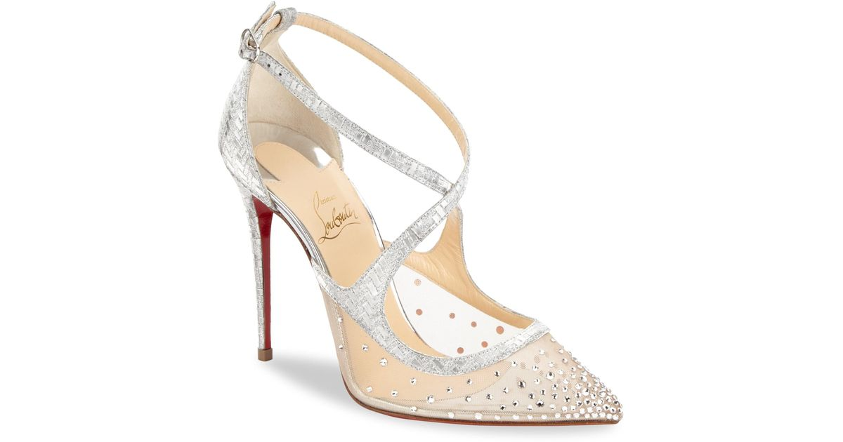 27b7b7d45482 Christian Louboutin Twistissima Strass 100 Metallic Leather Pumps in  Metallic - Lyst