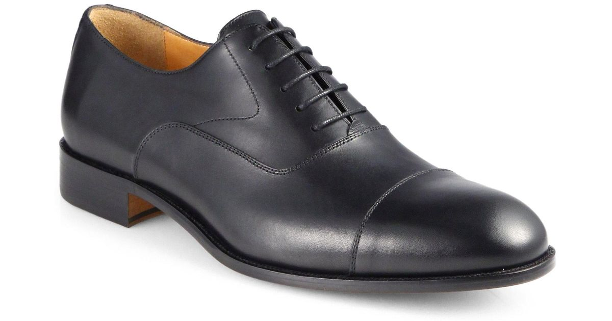 Saks Fifth Avenue COLLECTION Burnished Cap Toe Leather Oxfords 3QrHmQtPU
