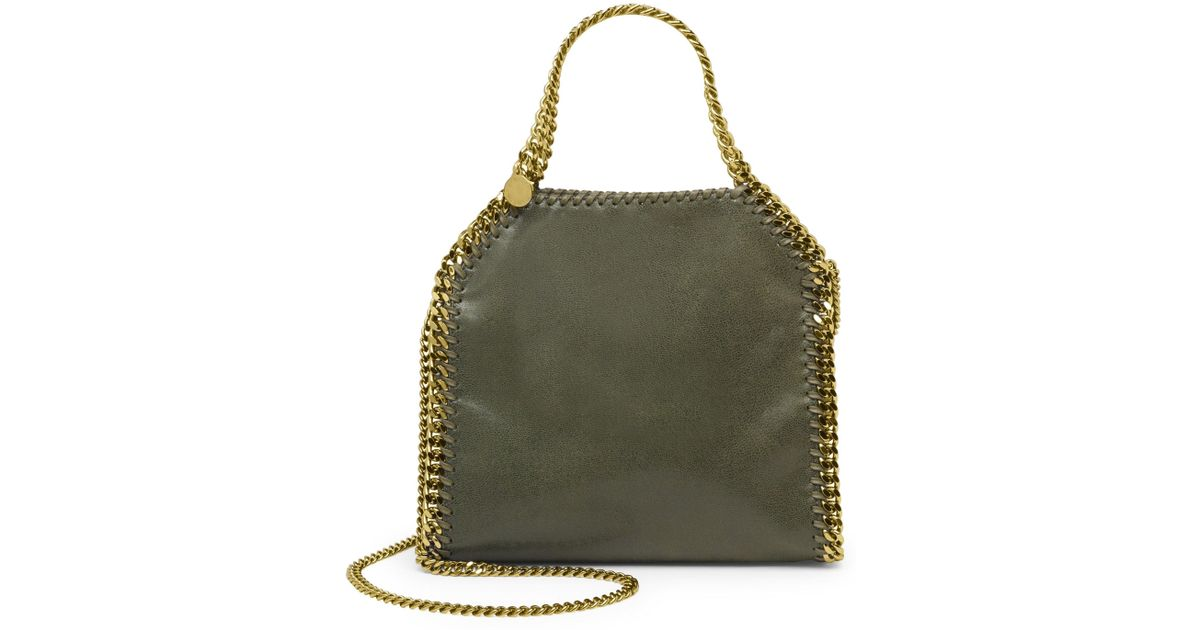 Lyst - Stella McCartney Women s Falabella Mini Baby Bella Metallic Faux  Suede Shoulder Bag - Clotted Cream in Green 6a0147648e1a9