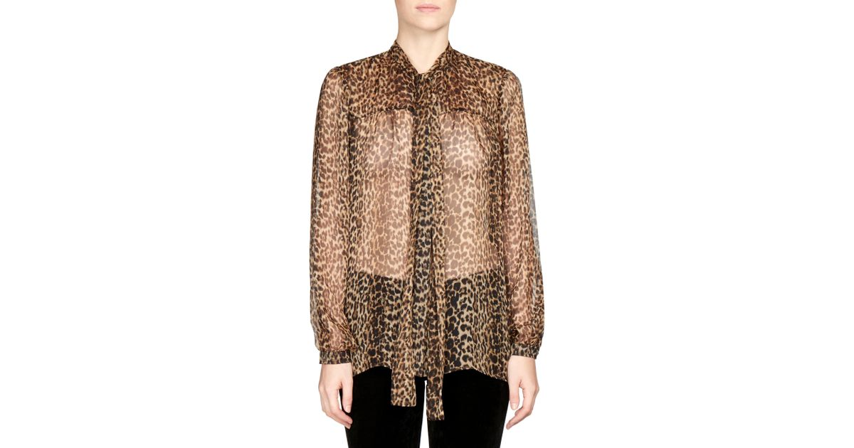 604af7e959139b Lyst - Saint Laurent Women's Silk Georgette Leopard Print Blouse - Leopard  - Size 42 (10)