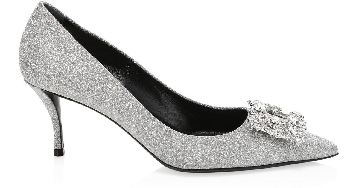 0731e8cada3 Roger Vivier Glitter Fabric Flower-crystal Buckle Pumps in Metallic - Lyst