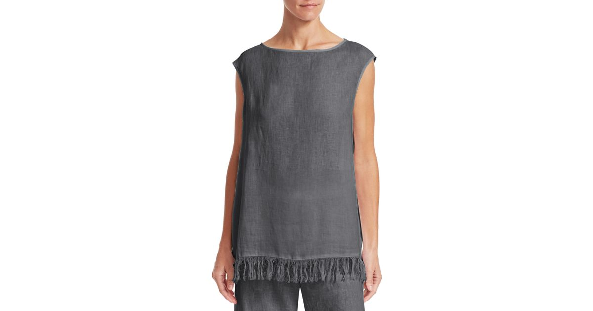 baaef7c3e99d0 Lyst - Fabiana Filippi Sleeveless Fringe   Beaded Tunic Top in Gray