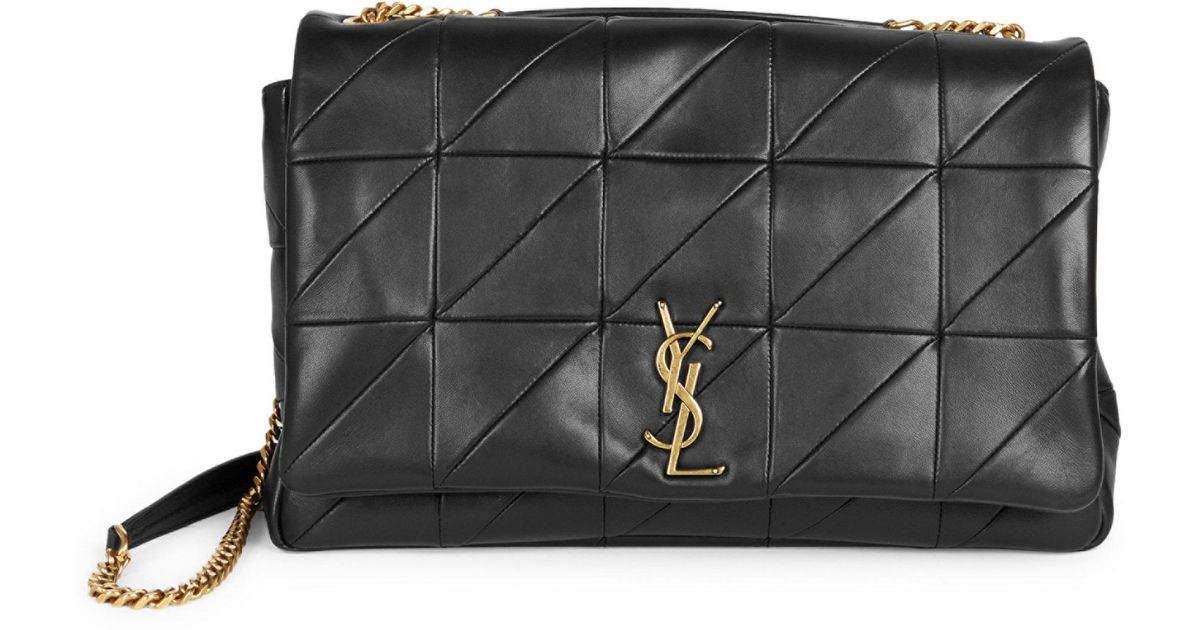 dd61a79dc4 Lyst - Saint Laurent Large Jamie Leather Patchwork Chain Shoulder Bag in  Black