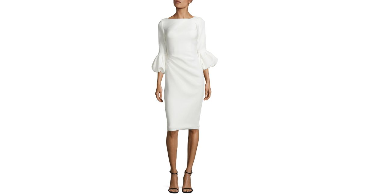 ed2dbd97 Jovani Puff Cuff Crepe Dress in White - Lyst