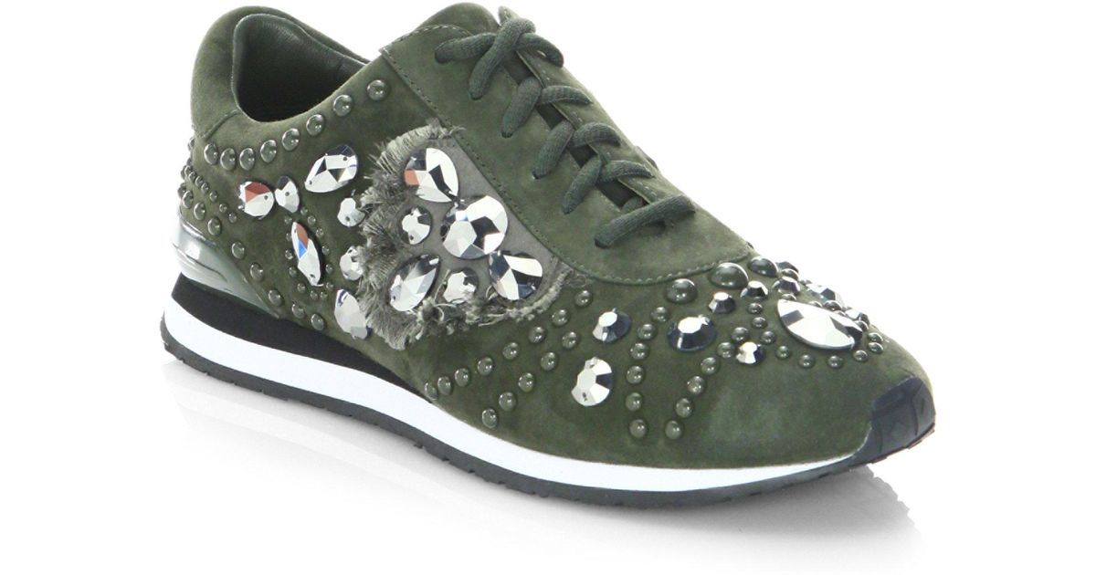 38a89f3285c9a Lyst - Tory Burch Studded Suede Runner Sneakers in Green