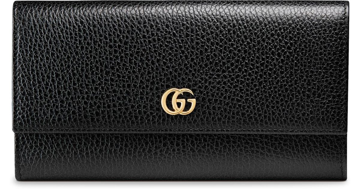 6bb0e7e6951964 Lyst - Gucci Petite Marmont Flap Wallet in Black