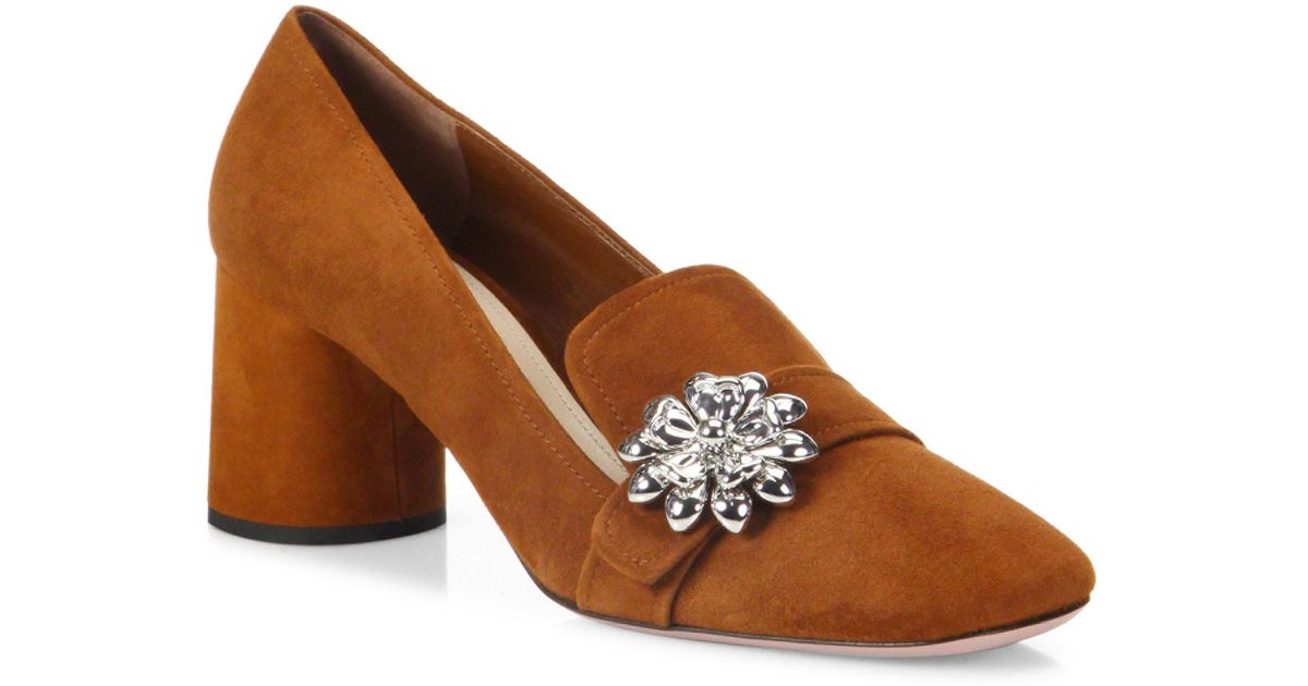 68c43e2d7a9 ... cheapest lyst prada flower embellished suede block heel loafer pumps in  brown ed8dd 9e7df