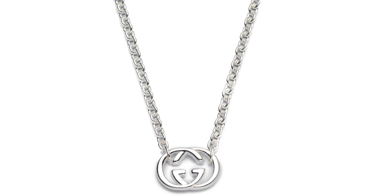 Lyst gucci double g sterling silver necklace in metallic aloadofball Image collections
