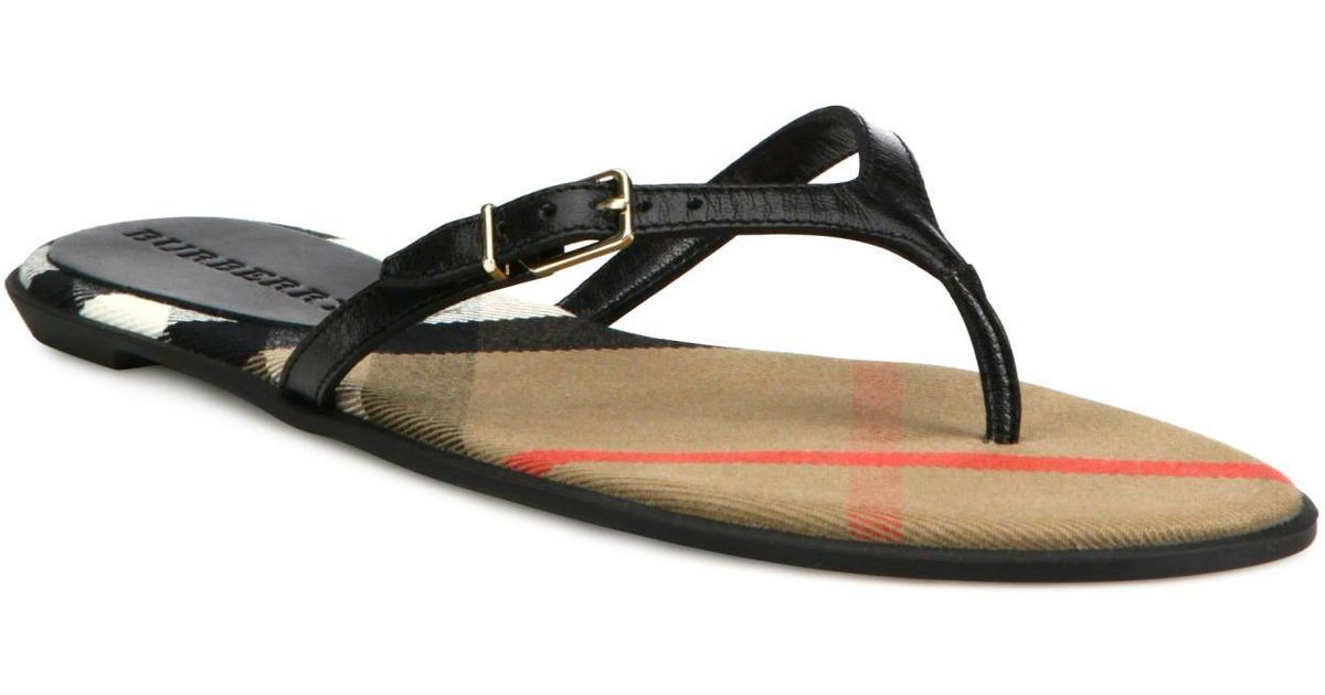 3470e0a54af2 Lyst - Burberry Meadow Leather Flip Flops in Black