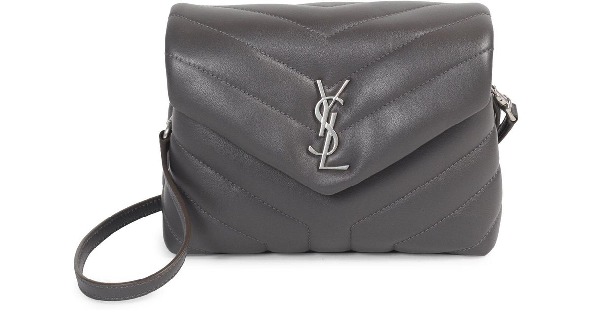 54ed1f86fa Saint Laurent Toy Loulou Calfskin Leather Crossbody Bag in Gray - Lyst