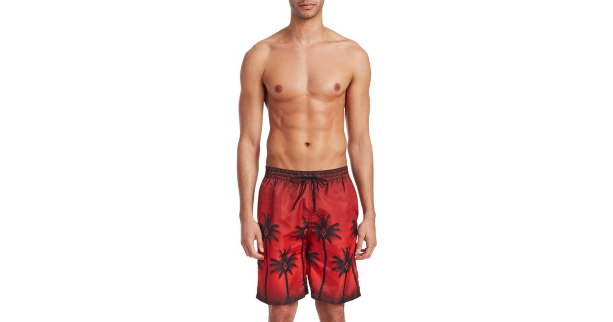34f6b1d899 Marcelo Burlon Palm Tree-print Swim Shorts in Red for Men - Save 24% - Lyst