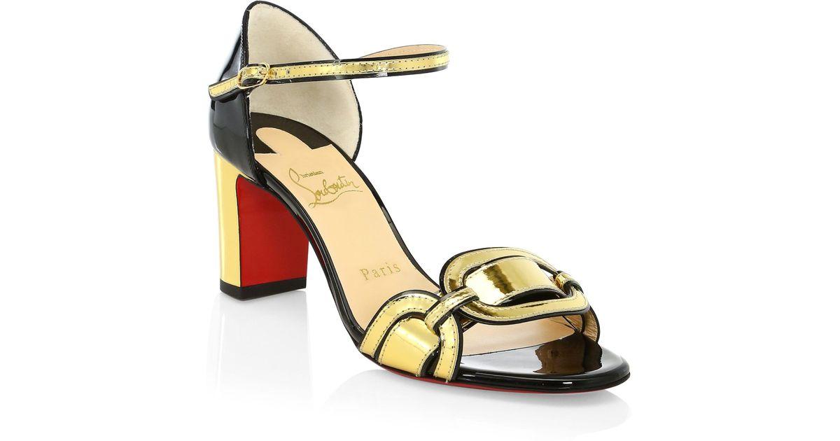 super popular f1e25 29cf9 Christian Louboutin - Metallic Women's Valparaisa 70 Patent Leather Sandals  - Gold Black - Size 41 (11) - Lyst