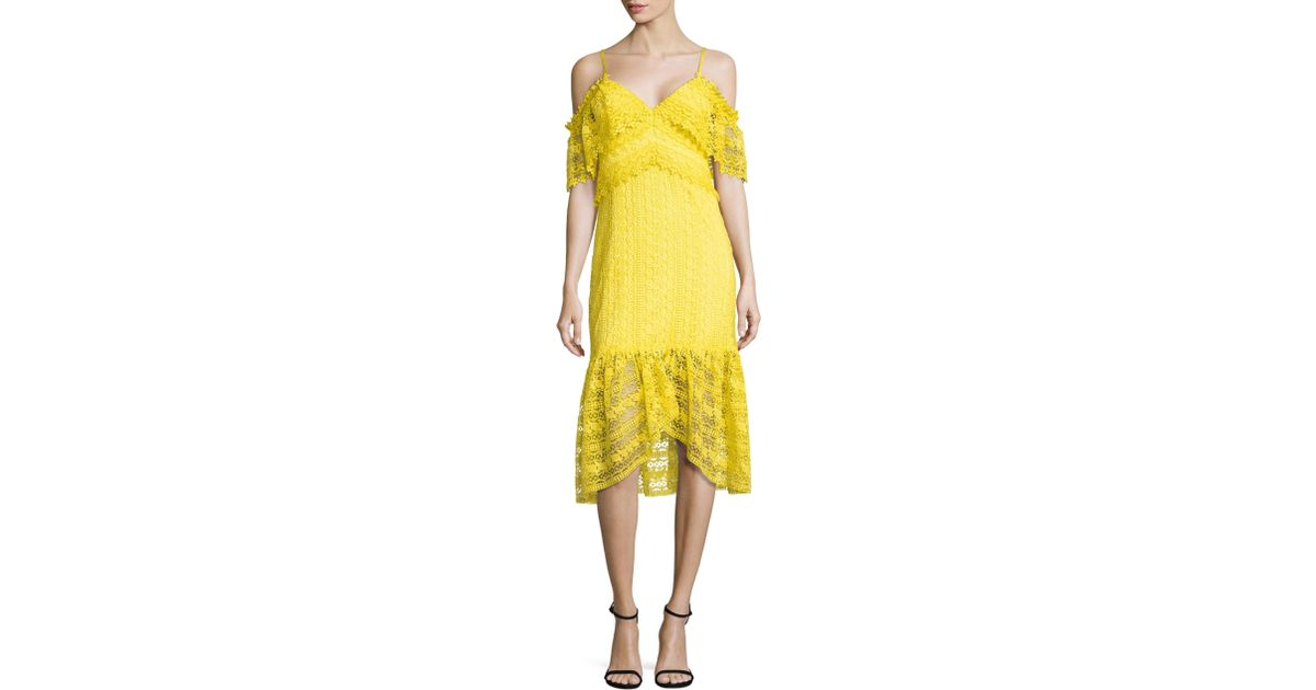 Lyst three floor starry eyed lace dress in yellow for Three floor yellow dress