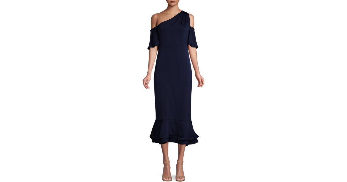 078bd4bd3b2f5 Shoshanna Jules Cold-shoulder Flounce Dress in Blue - Lyst