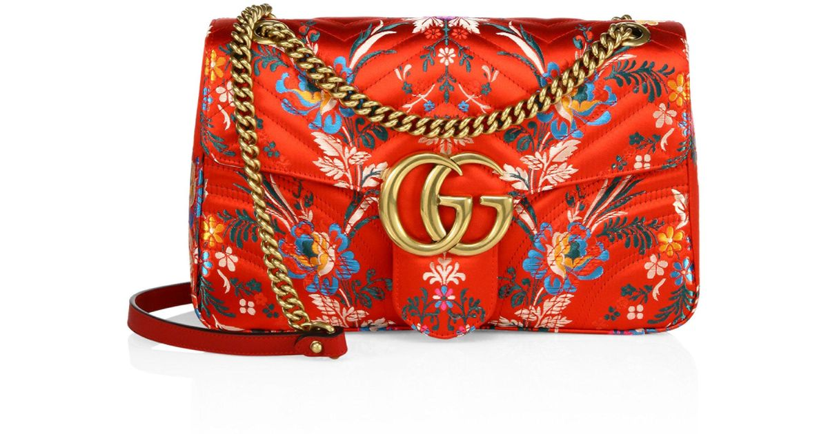 7e9224fe51d1 Lyst - Gucci Small Gg Marmont Matelasse Floral Jacquard Chain Shoulder Bag  in Red