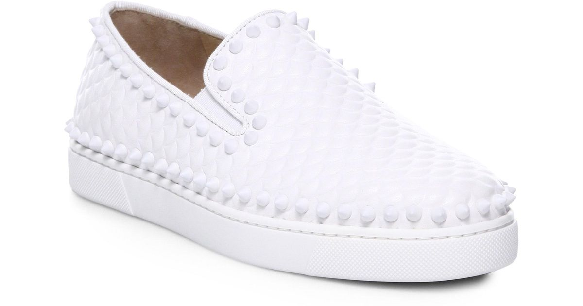 f6ef618ba53f Lyst - Christian Louboutin Pik Boat Scallop-embossed Leather Skate Sneakers  in White