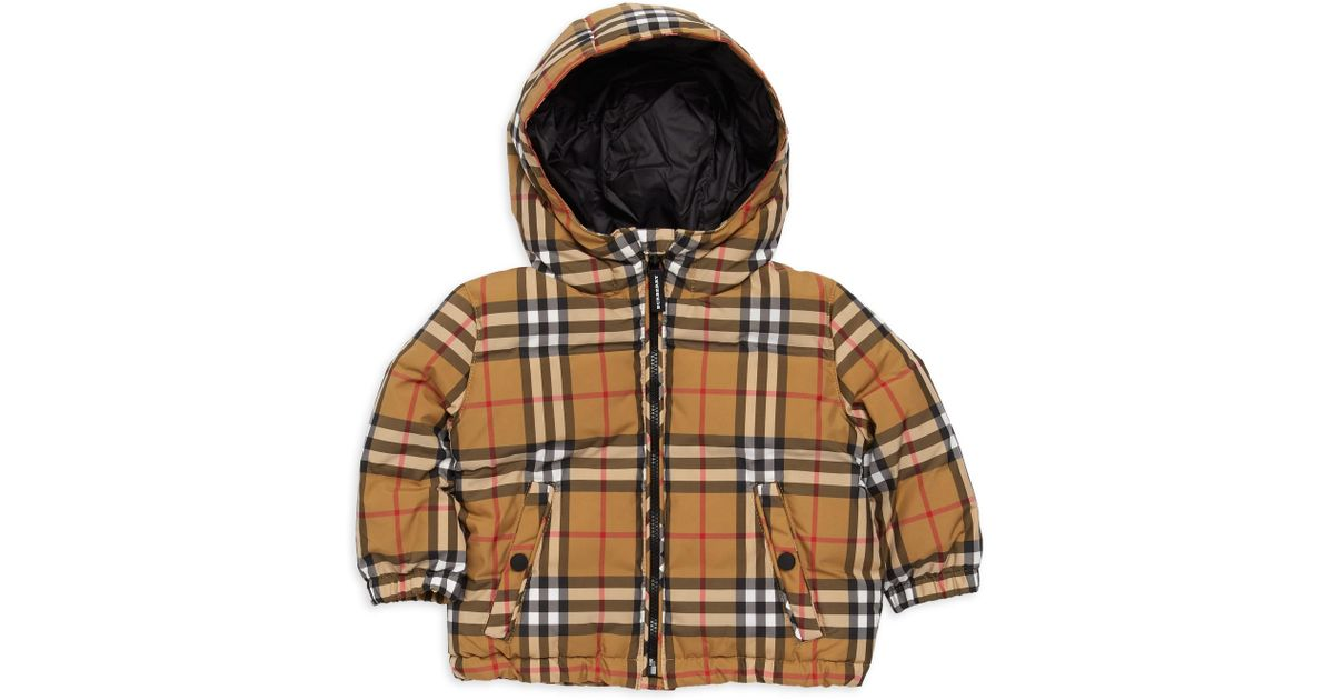 3eab3723b Burberry Baby Boy's & Little Boy's Rio Signature Check Puffer Jacket -  Antique Yellow - Size 6 Months for Men - Lyst