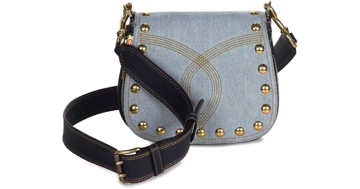 6a3d97484a4c Marc Jacobs Small Nomad Studded Denim Saddle Bag in Blue - Lyst