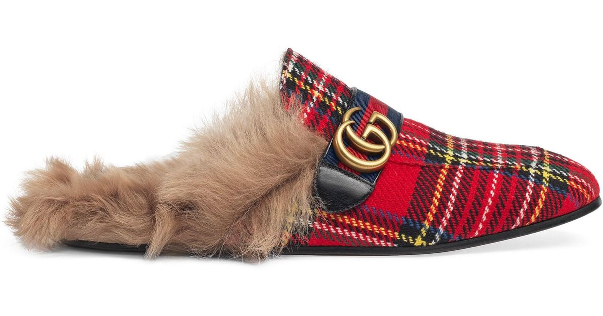 9b26a29a5 Gucci Men's Princetown Tartan Slipper With Double G - Red in Red for Men -  Lyst