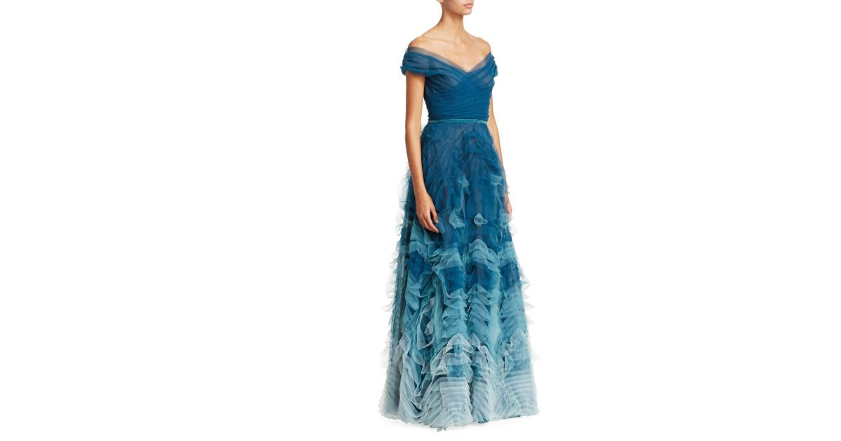 287ca335 Marchesa notte Women's Off-the-shoulder Ombré Tulle Gown - Teal in Blue -  Lyst