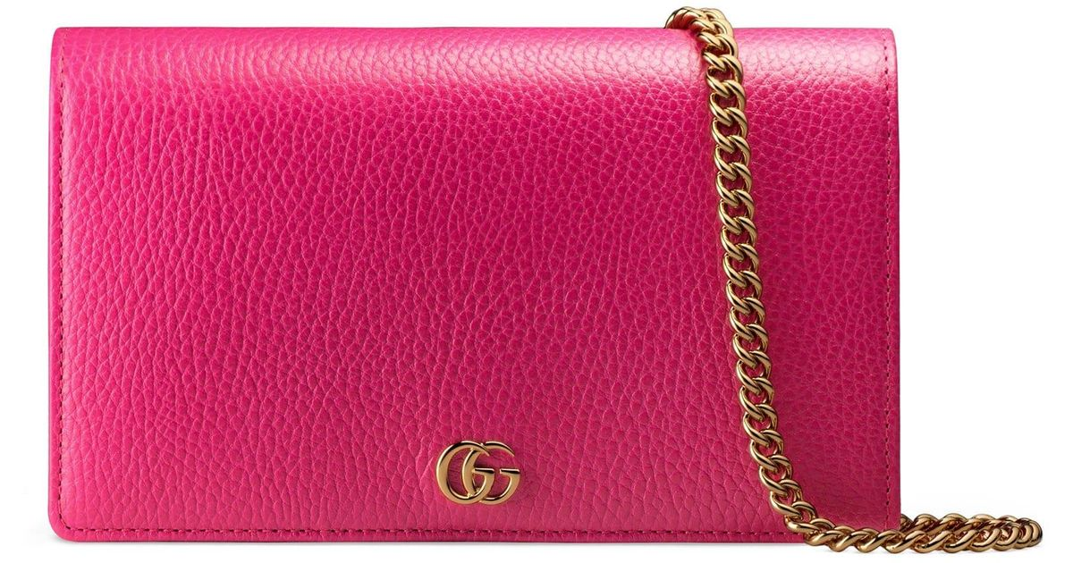4d779ed9302 Lyst - Gucci Women s Petite Marmont Wallet On Chain - Black in Pink
