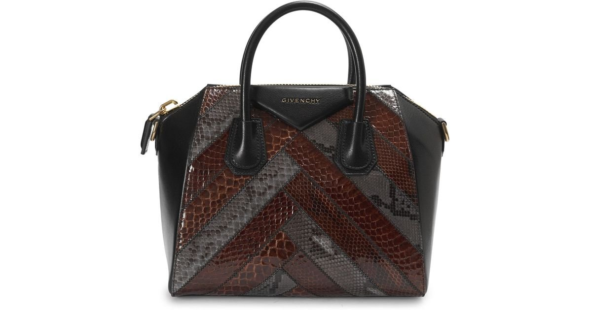 1adcf29c2ebc Lyst - Givenchy Small Exotic Patchwork Python Antigona Bag in Black