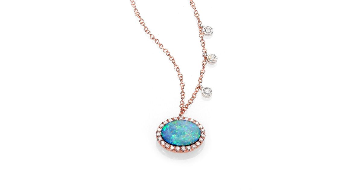 Lyst meira t opal diamond 14k rose gold pendant necklace in blue aloadofball Image collections