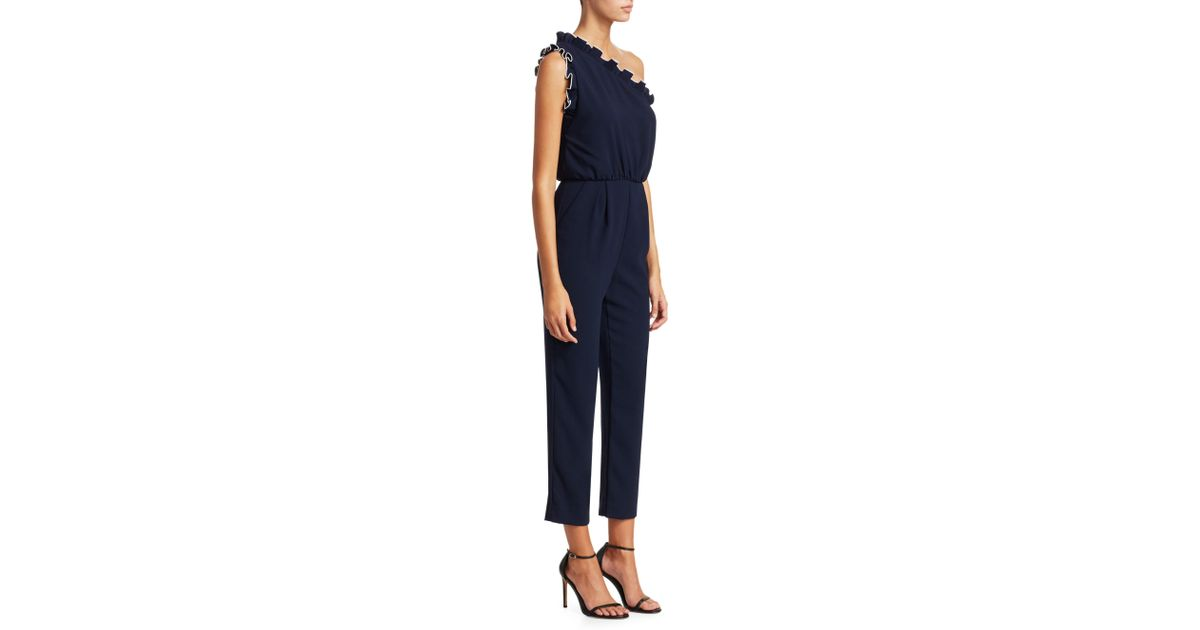 be77b439c873 Lyst - ML Monique Lhuillier Women s Crepe Ruffled One-shoulder Cropped  Jumpsuit - Navy - Size 4 in Blue