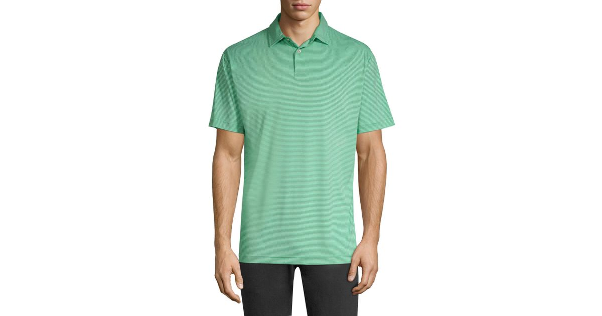 177fa414 Peter Millar Featherweight Stripe Polo Shirt in Green for Men - Lyst