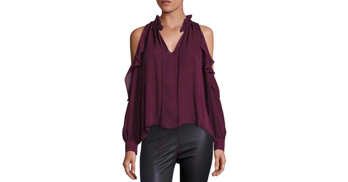 d9c9b56aac6c9f Lyst - Parker Marjorie Cold-shoulder Silk Blouse in Purple
