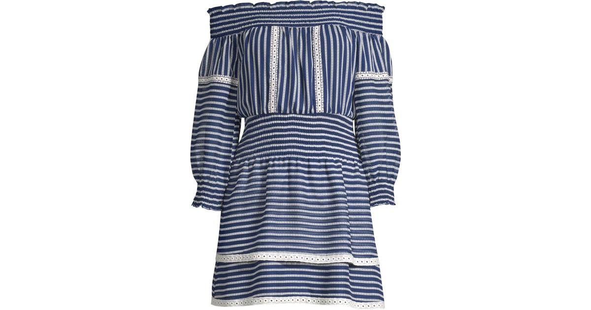 453da3bfffba Lyst - Parker Women s Carah Off-the-shoulder Mini Dress - Cosmic White -  Size Xs in Blue