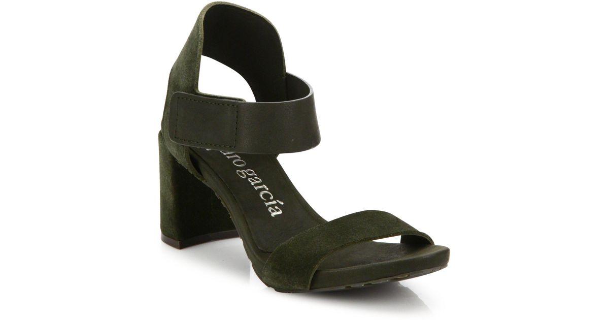 00fb395f8345 Lyst - Pedro Garcia Willa Suede Grip-tape Block Heel Sandals in Green