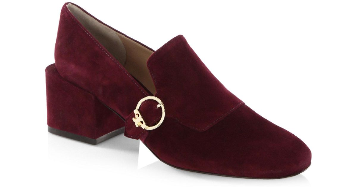 8f89615d5a33 Lyst - Tory Burch Tess Leather Loafers in Purple