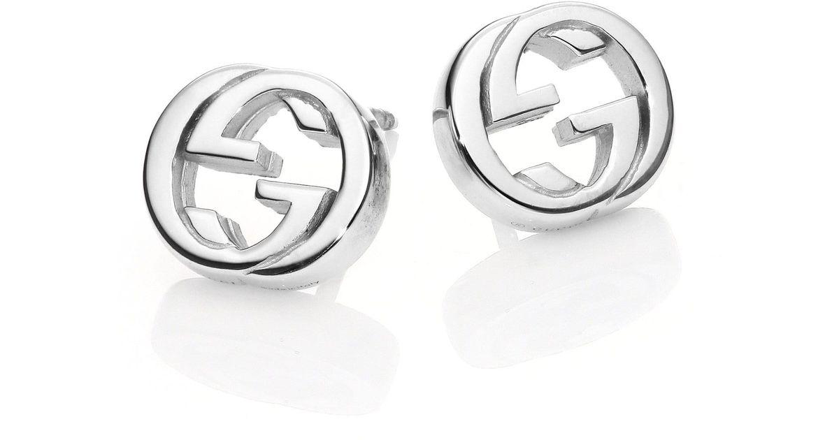 71ccdaf1a90 Lyst - Gucci Women s Interlocking G Sterling Silver Stud Earrings - Silver  in Metallic