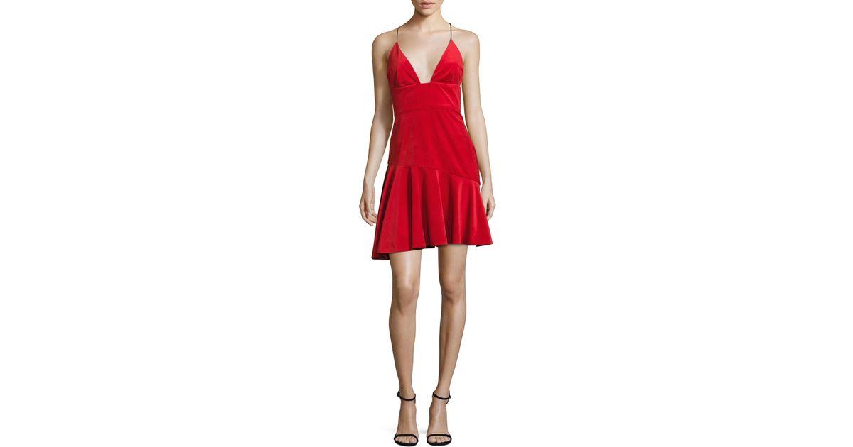 3dda41cf4a ABS By Allen Schwartz Velvet Ruffle Hem Dress in Red - Save 13% - Lyst