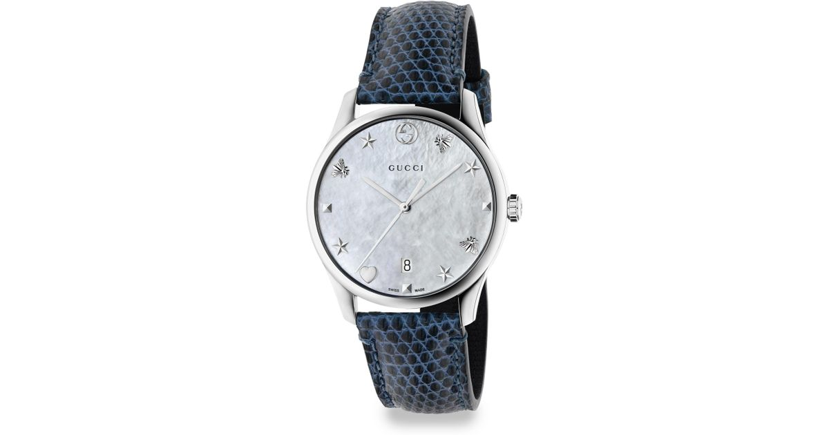 cca3926ab12 Lyst - Gucci G-timeless Stainless Steel Leather Lizard Strap Watch in Blue  - Save 27%