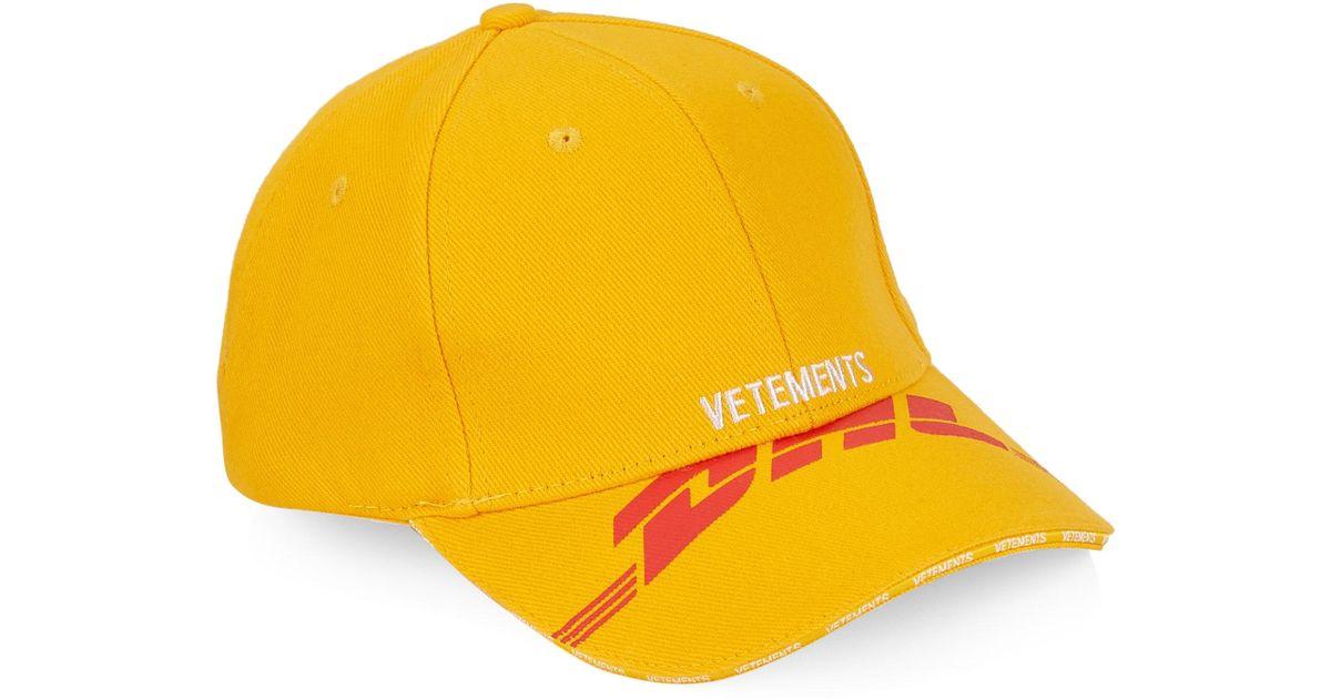 Vetements X Dhl Baseball Cap in Yellow for Men - Lyst a859b56a826