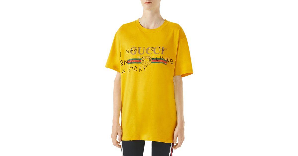 4c7792ec1774 Gucci Logo Writing T-shirt in Yellow - Lyst