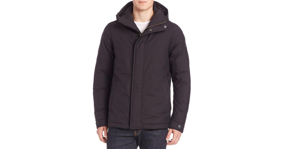 teton rudder jacket  Lyst - Woolrich Teton Rudder Hooded Jacket in Black for Men