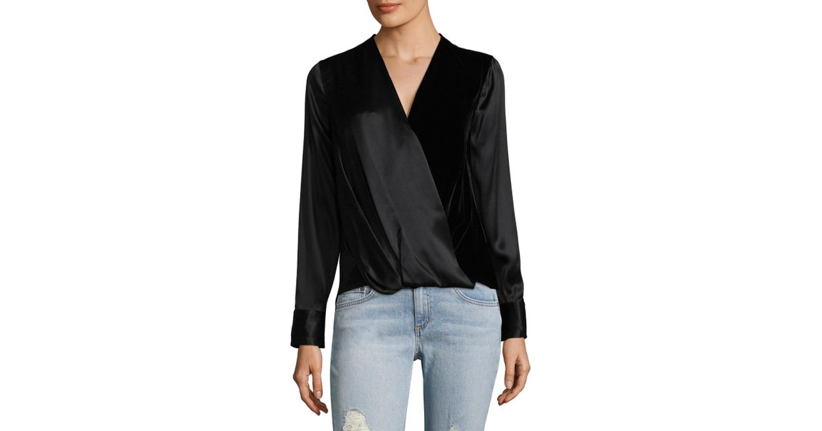 480e478af003fb Rag & Bone Victor Surplice-neck Long-sleeve Silk Blouse With Velvet in Black  - Lyst