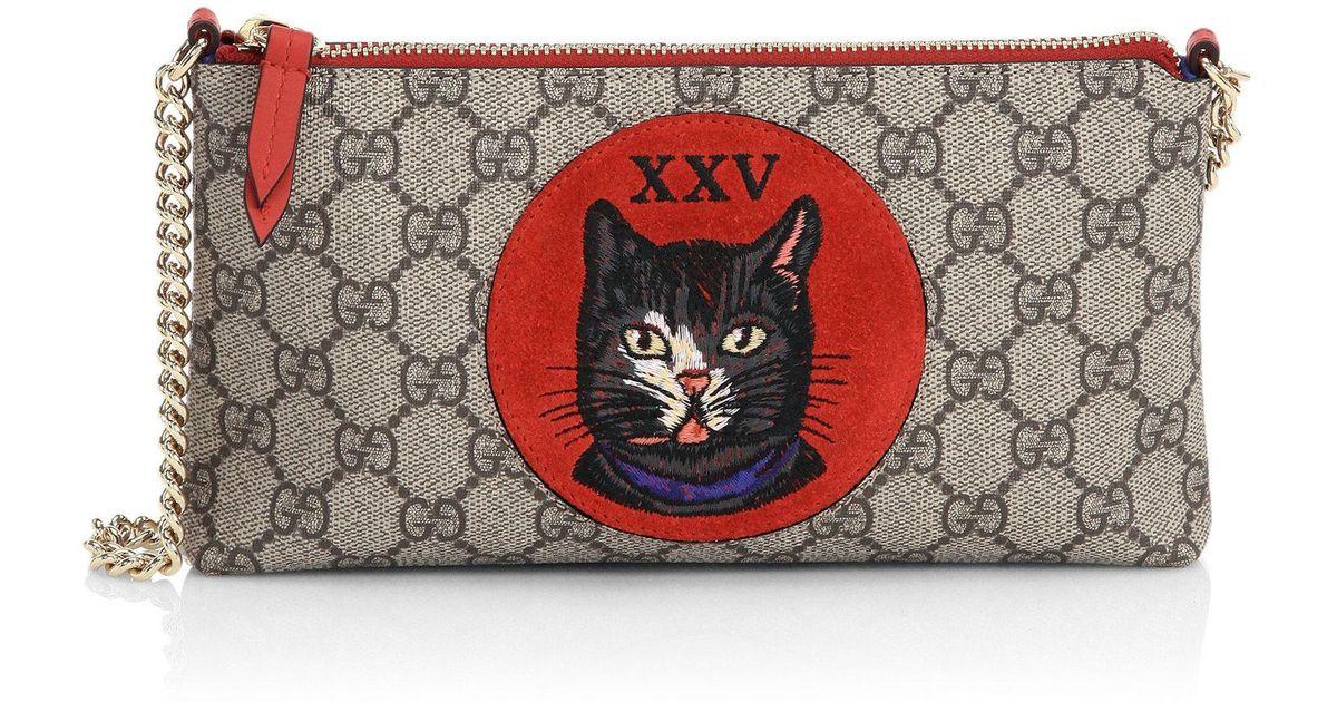 ea53d9f2c7d Gucci Gg Supreme Mystic Cat Wrist Wallet - Lyst