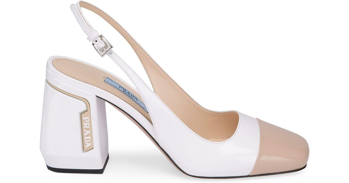 9166390f7fa Lyst - Prada Leather Bicolor Slingback Heels in White - Save 5%
