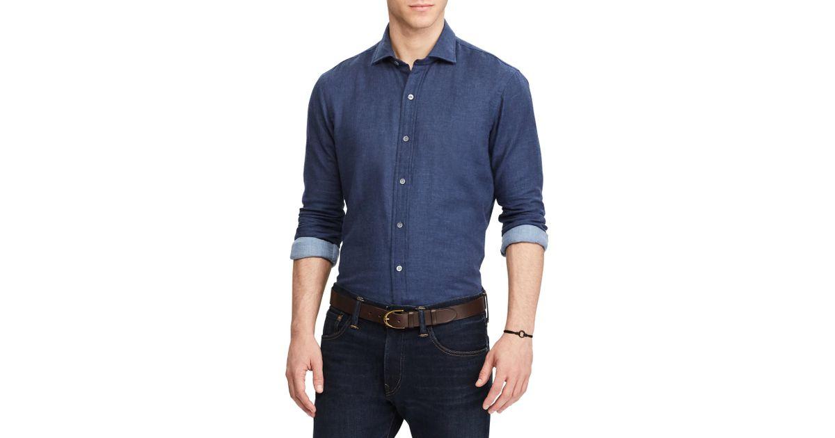 Polo ralph lauren double faced casual button down cotton for Polo ralph lauren casual button down shirts