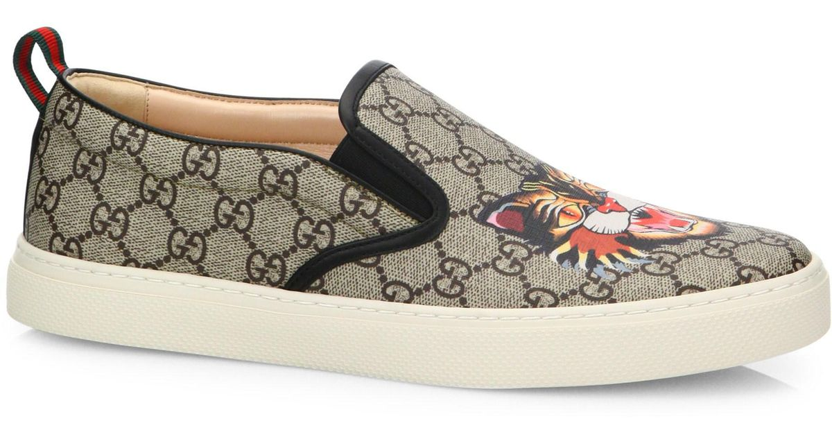 b0b62d854 Gucci GG Supreme Angry Cat Slip-on Sneakers in Natural for Men - Lyst