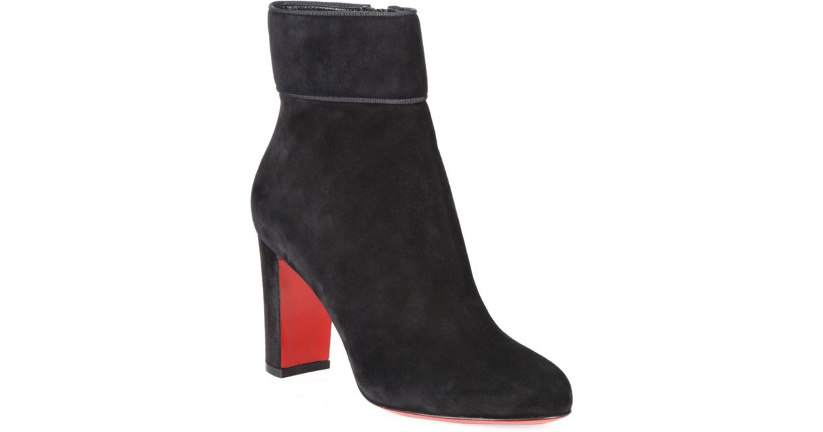 d26050e5a3a Lyst - Christian Louboutin Moulamax 85 Suede Block Heel Booties in Black