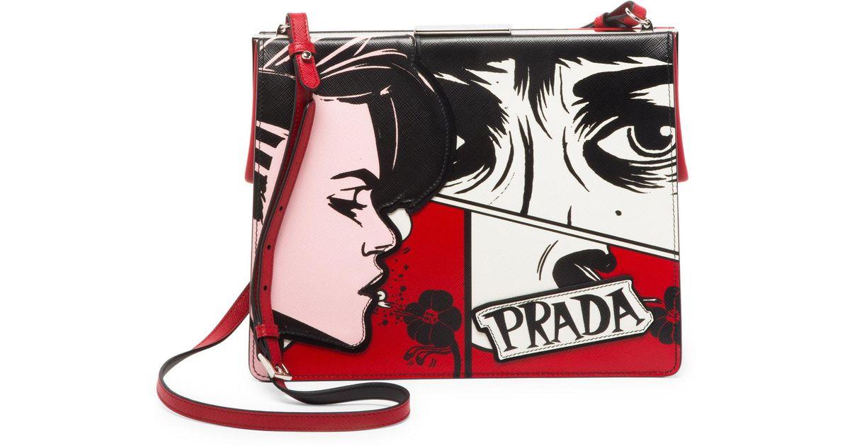 87b3096730f7de Prada Large Comic Print Frame Bag - Lyst