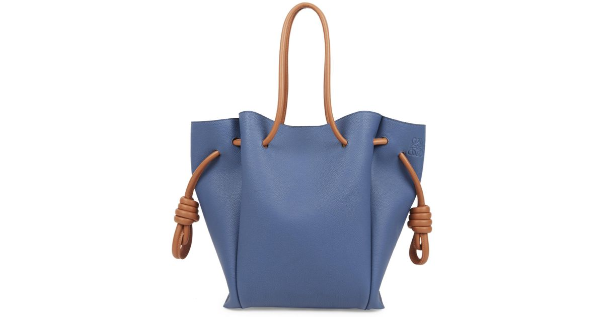 90aef6fffca1 Lyst - Loewe Women s Flamenco Knot Leather Tote - Midnight Blue in Blue