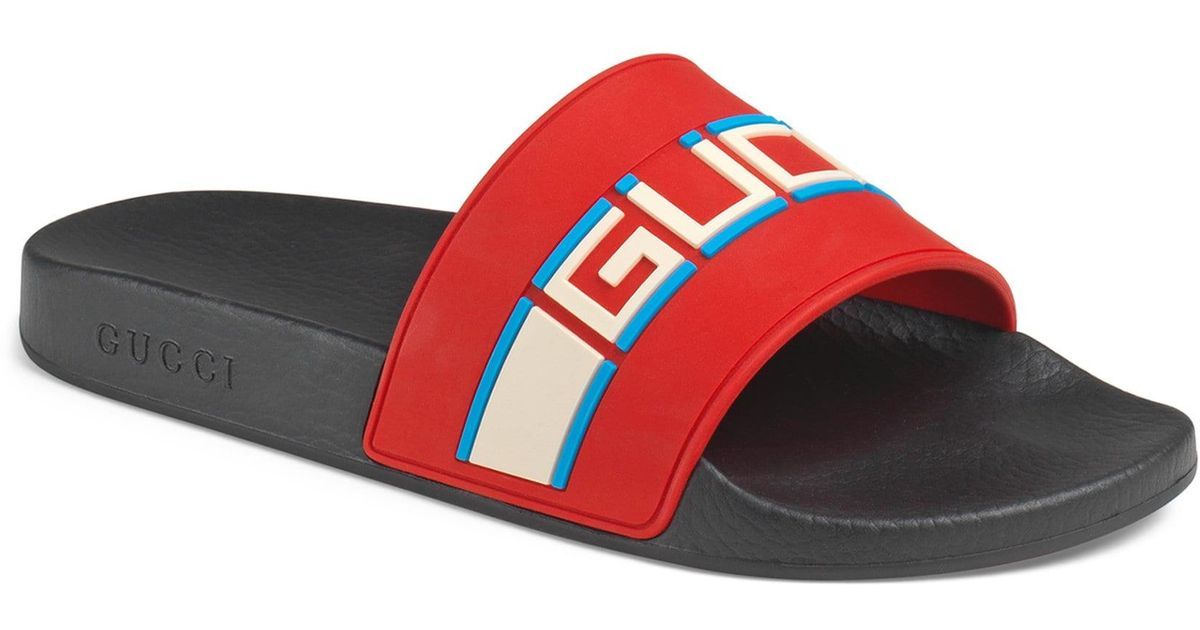 5ed1bddd8cba Gucci Pursuit Stripe Rubber Slide Sandal in Red for Men - Lyst